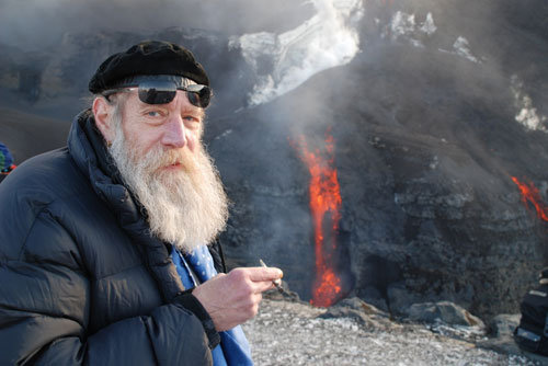 "I have no idea who this is, standing by the Fimmvörðuháls eruption, but it does remind me of a great story from the Eyjafjallajökull eruption. There are these two old brothers that live alone on a farm not far from the volcano. They had been forced to evacuate, unwillingly to Hvolsvöllur. However as the eruption stabilized they were allowed to return to the farm. A young TV reporter interviewed the brothers. She spoke with them as if they were a bit naive, something the brothers picked up on. When she asked ""Isn't it nice to be back and be able to stay with the animals?"" one of them responded fussily ""With the animals? We sleep inside, they sleep outside."" They also made it quite clear that they were not happy with having been forced to evacuate. ""Our family has always lived here and there has never been a flood because of the volcano."" They were also not at all surprised that the volcano was erupting. They could see it from the weather in the weeks before that en eruption was underway."