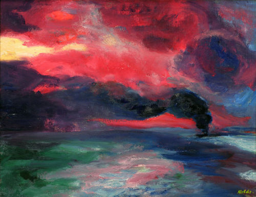 "amare-habeo:  Emil Nolde - Evening Sea at Autumn (Abendliches Herbstmeer), oil on canvas, 1951 Beck & Eggeling Düsseldorf """"Sometimes it seems to me that I am capable of absolutely nothing, but that nature through me can accomplish a great deal""_ Emil Nolde"