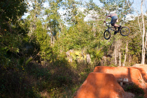 Ryan Popple kicking out at Castleberry trails.  Photo By: BJ Wolfe