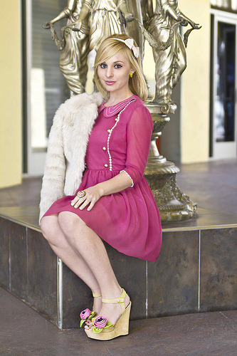 ModEmployee Outfit du Jour! Helena, Designer Relations Associate, wearing the Loving Care Dress, Betsey Johnson Love Embodied Wedge, and Street Style Maven Jacket!