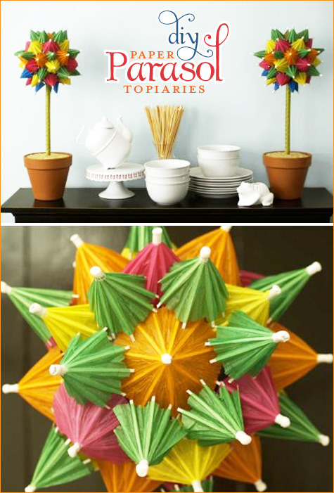 DIY Paper Parasol Topiaries