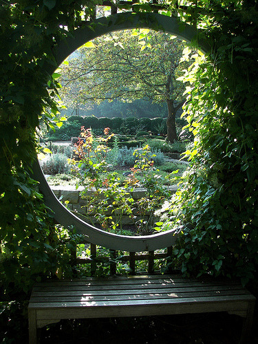 trelica:  bench in a garden gazebo (by loweryjes)