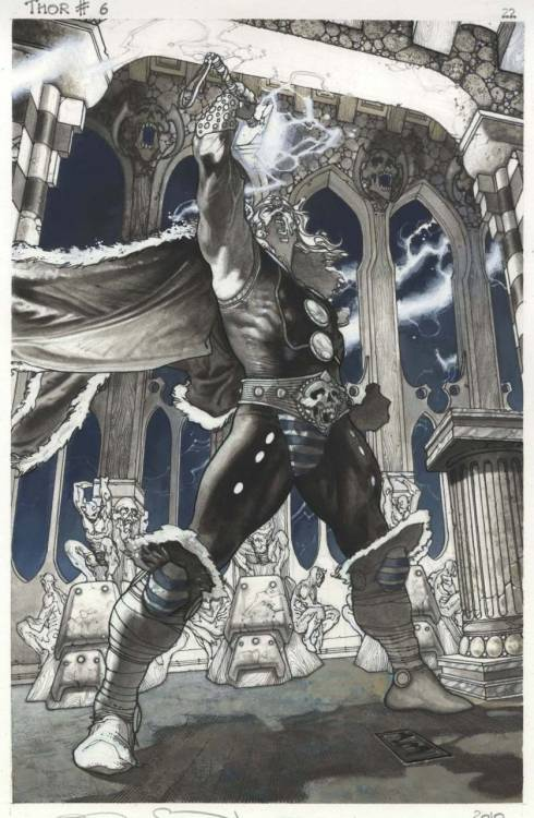 Thor for Asgard 6 last page by Simone Bianchi  I'll be driving out to Hollywood later tonight to watch the midnight screening of Thor… I'll have a review posted early tomorrow morning…