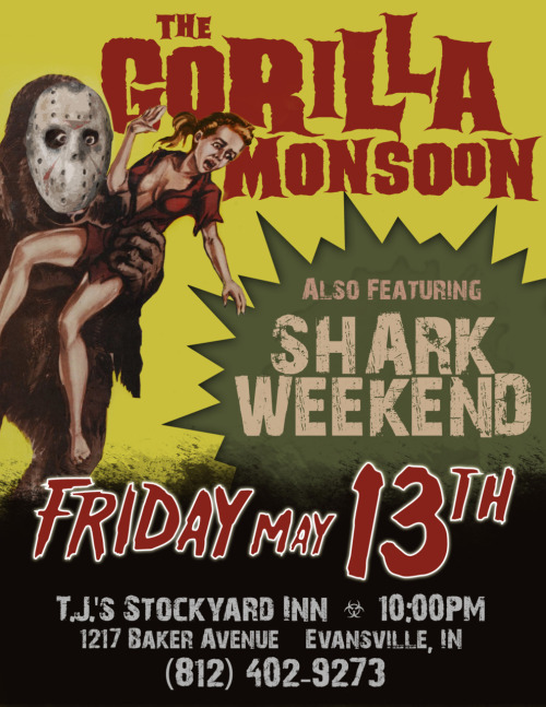 We're playing again this Friday the 13th!  At TJ's Stockyard!  Come see us play with Shark Weekend!  Those guys are pretty fucking neat too!
