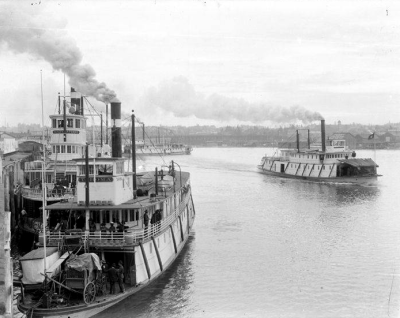 Sternwheelers on the Willamette. circa 1900.
