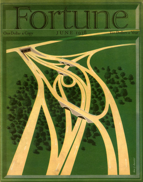 Fortune Magazine cover, June 1938, as seen in the NYC Transit Museum. Illustration by Hans J. Barchel. Lovely. (via Past Present)