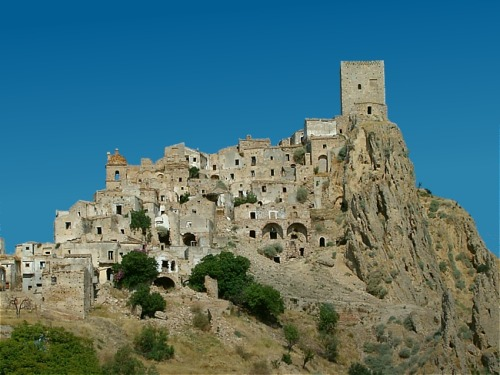 Craco, Basilicata, Italy. Its foundation can be traced back to the 8th century AD, its mostly abandoned now.