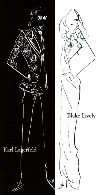 """Karl Lagerfeld and Blake Lively at the Met Costume Institute Gala"" karl lagerfeld attended the event with blake lively (in chanel couture), and himself wore a tuxedo jacket from tom ford spring summer 2011. Met Costume Institute Galaに、ブレイク・ライブリーを伴って現れたカール・ラガーフェルド。ブレイクはシャネルのクチュールドレス、カールはトム・フォードの20011ssコレクションのタキシード姿。"