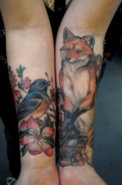 tattoome:  Bird & fox #tattoo by   Brian Thomas Wilson