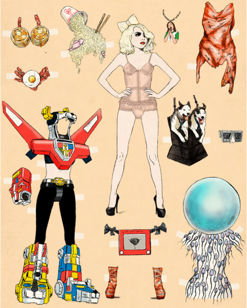 luckymag:  gq:  GQ Presents: The Lady Gaga Paper Doll! Includes: Cup O'Noodles wig & hat, Vulv A Sketch Belt, Moment of Conception Unitard & Helmet, and much more.  OMG.