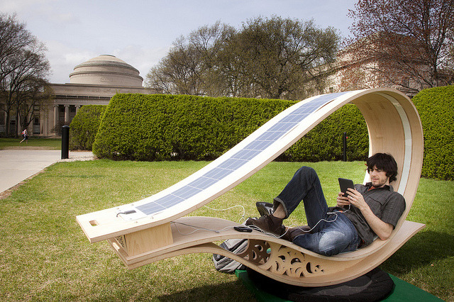 laughingsquid:  Soft Rocker, A Solar Powered Lounge Chair Charging Station