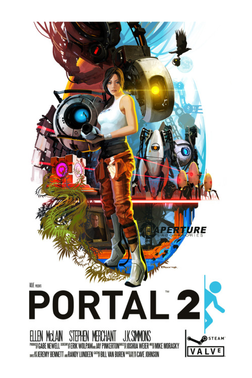albotas:  Insanely awesome Portal 2 movie poster by Tristan Reidford. Gaming publishers need to wake the fuck up and realize there's a wealth of talented artists who can make way better cover art for games than the crap we're typically given. [Via Super Punch]  Why is that mute psychopath in the center?