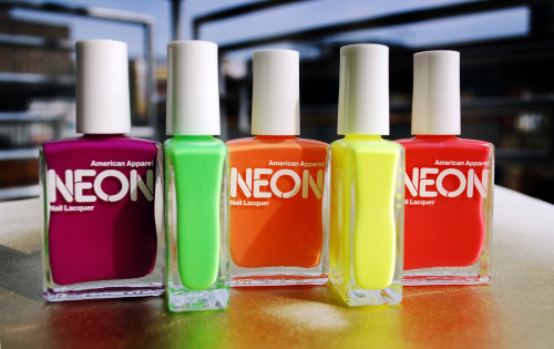 Meet my new favorites:L to R: American Apparel Neon Purple, Neon Green, Neon Orange, Neon Yellow, Neon Red