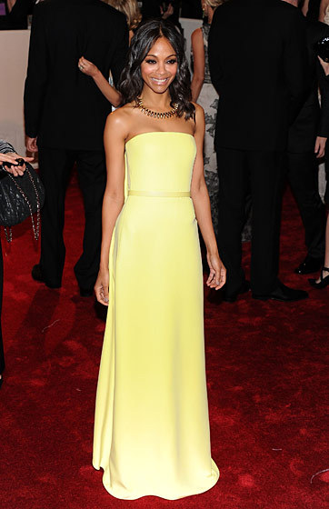 KNOCKOUT: Zoe Saldana (in Francisco Costa for Calvin Klein Collection) Met Gala 2011… She wears Calvin Klein underwear well too (see ads)