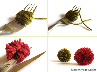 outskirtparty: Start by wrapping your yarn around the prongs of your fork (for the green pompom I wrapped 40 times around, for the red pompom I made 60 wraps) and then cut the end of your yarn. Cut a length of yarn 20cm or so long, and thread beneth your yarn wraps between 2nd and 3rd fork prong. Pass the other end of this length of yarn between prongs over the top of the yarn bundle. Pull both ends and tie into a tight knot. Slip yarn bundle off the end of your fork. snip through all the loops of yarn, and roll pompom between palms to 'fluff'. Trim any uneven ends. Admire pompoms.