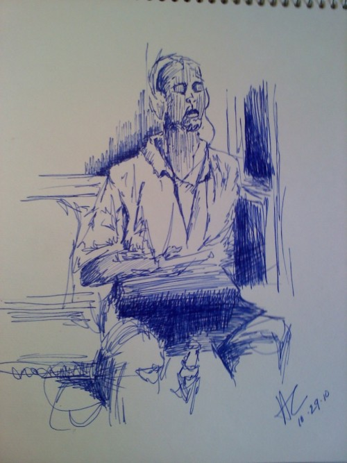 my ballpoint pen drawing of a guy on the subway, 2010