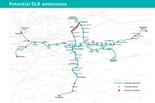There's some crazy plans in this map of potential DLR extensions (from London Reconnections, via Dan W). Perhaps the most baffling question is: why is the station between Lewisham and Catford called Medusa? (Apparently it's named after the road it'd be on.)
