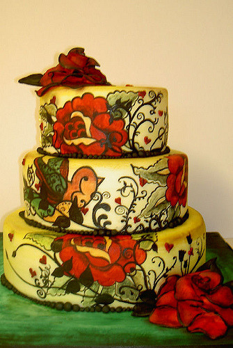 misspeachycakes:  tattoo themed wedding cake (by fairycakes and faces)
