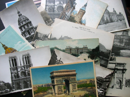 Happy French Friday! Stash of vintage Paris postcards that I'm turning into makeshift graduation announcements… More images on my blog HERE.