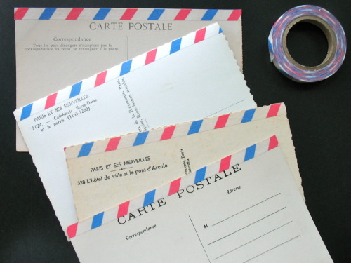 Makeshift vintage graduation announcements, in progress… Vintage Paris postcards + air mail-themed washi tape. More to come see my blog HERE)…