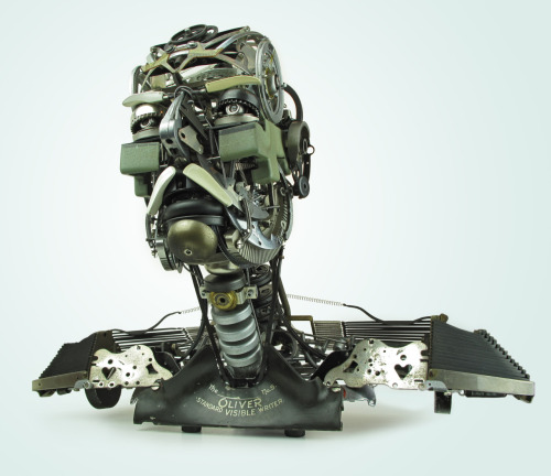 "Jeremy Mayer Bust V (Grandfather) 22""x11""x17"" Assembled typewriter parts 2011 I was going to wait to show this piece until I finished my book. The book is taking forever."