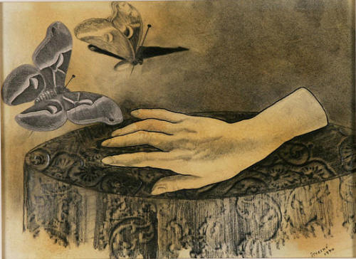 "Jindřich Štyrský, Alabastrová ručička (Little Alabaster Hand), 1940 Via Ubu Gallery (Formerly at Metamorphosis Victorianus exhibition) ""In the first of May you'll go to the cemetery where in section ten you will find a woman sitting on a grave. She will be expecting you and will read your future from the cards. You will leave to look for answers on the walls of boarding schools, but the heads of the young girls at the window will appear as buttock-buds and ass-tulips, quavering when a truck drives past. You will feel an intense fear lest they come crashing down onto the pavement, a fear similar to the pleasure you felt in childhood at your first convulsive erection and the terror you felt when your sister taught you to masturbate with her tiny alabaster hand."" — Jindřich Štyrský (More Štyrský)"