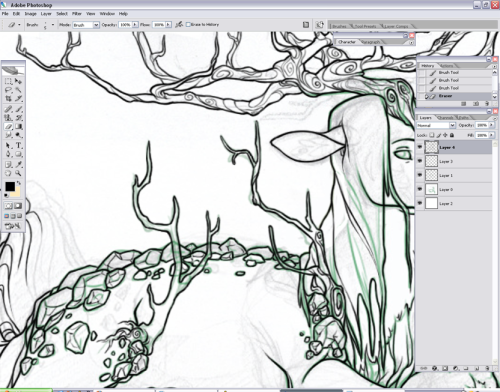 Screeeeencap of what I've been working on. This lineart is driving my crazy ;n; halp. Commission WIP for Sayle/Darling @ Subeta.