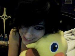 My chocobo plushie, Mr. Spikey, wanted to say goodnight!  Off to bed I go, I have a meeting at work tomorrow morning at 8am…poooo.  Sweet dreams, everyone!