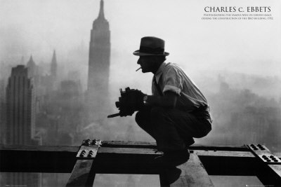 Charles Ebbets by Charles C. Ebbets, 1932. Daredevil photographer Charles Ebbets (1905-1978) might even awe today's extreme photographers with his dizzying shots. Snapping his classic shots from the same dangerous heights as his subjects, Ebbets published 300 photos in the New York Herald Tribune. Ebbets also worked as a pilot, auto racer, wrestler and hunter. He was prizefighter Jack Dempsey's official staff photographer.