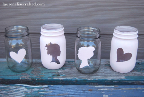 tutorializer:  Painted mason jar tutorial. (via Lauren Elise Crafted - Blog - Crafted DIY: Silhouette Mason Jars)