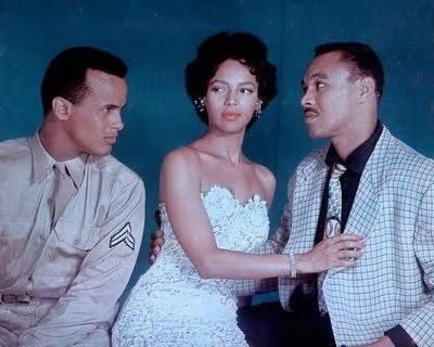 "Dorothy Dandridge with Harry Belafonte and Joe Adams of ""Carmen Jones."" Mr. Adams can be seen in the 2003 documentary Dorothy Dandridge: An American Beauty (available on Netflix) discussing Ms. Dandridge and her career."