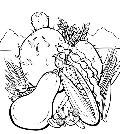 Recently I was commissioned to make a coloring book about delicious vegetables in the Southwest. It's called Southwestern Flavor Adventure and it's a bilingual (English/Spanish) document that will eventually be free for download. Each packet centers around a different food, with pictorial recipes, games, and information. If you want to color any of the work I've done for Southwestern Flavor Adventure, please let me have a link so I can reblog you. :)