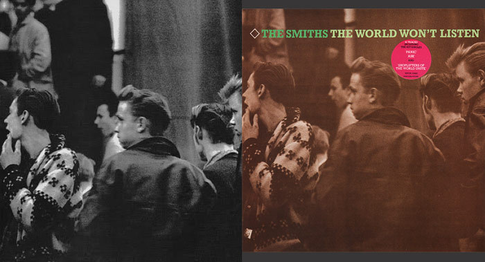 "The Smiths: ""The world won't listen"" Double L.P, 03/1987On the left the original: A photo from Jürgen Vollmer's book: ""Rock'n'Roll times"" 1983. This book is a collection of photos taken in Hamburg and Paris between 1961 & 1964. Vollmer also worked as a photographer with The Beatles, John Lennon…On the right The Smiths compilation recorded between 01/1985 & 09/1986 + an alternative version of:""Stretch out and wait"""