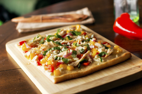 Chicken, Feta, Yellow Bell Pepper, and Red Bell Pepper Flatbread with Basil