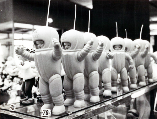 Toy cosmonauts line a shelf in the Moskva department store in Moscow 1967