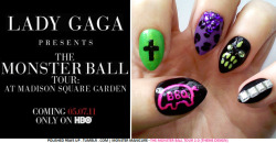 "Tonight the full concert special Lady Gaga Presents: The Monster Ball Tour at Madison Square Garden airs on HBO at 9PM ET!  I had some Monster Ball nails on deck before this event was even announced and recorded, so what a perfect time to share them! I call these a ""Theme Design"" because they're a little different than what I normally do.  Each nail is different and they only form a cohesive design together when you are aware of what the design influence is.  Usually I like to match my match my nails for a more consistent look, but I will be doing more sets like these in the future as well! The Monster Ball Tour 2.0 (Theme Design): (click title links for images) ""BBQ"" — Neon signs adorn the stage during Act I: The City of the show.  I used to a toothpick to freehand the design in Purple Panic by China Glaze over a black base. The Rolls Royce — Gaga's tripped out holy roller ""breaks down"" at the end of Act I. After popping the hood to check the damages (and playing the concealed electric piano inside) she is forced her to take the subway.  Free Spirit by Pure Ice base, Hi-Def by Sally Hansen metallic overlay, with a black cross. ""Beautiful Dirty Rich"" — Gaga dons an Armani headpiece with purple leopard leotard which is worn throughout Act I.  Spontaneous by China Glaze base, black and Flair by Sally Hansen spots, and purple glass rhinestones. ""It's the monster…"" — After Act III: The Forest (Central Park) Gaga has been abandoned by her crew and faces the Fame Monster alone.  Black base with Green With Envy by Sally Hansen and green glass rhinestone design. The Studkini — Jumping back to Act II: The Subway, Gaga gets a call from Beyonce and performs several ballads on a flaming piano in this outfit.  Black base with square rhinestones to mimic the line of studs on the bottom.  (I couldn't find small enough craft pyramid studs for these, so I used the square rhinestones and coated them with Celeb City by Sally Hansen (silver) and Tiara by China Glaze (silver glitter) for extra sparkle.) Tune in to HBO tonight to relive or experience the full show! Coming soon: Juda, Jud-ah-ahs! ox PPU"