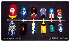 Avengers nails, as suggested by sailorpokemon :) Top left to top right: Iron Man, Fantastic Four, Scarlet Witch, Hawkeye, Captain America, Spiderman. Bottom left to bottom right: Thor, Black Widow, Quicksilver, Wolverine, Hulk, Ant-Man. Next request is being worked on….Uhuhuhuuu~  Please ignore the fluffy hair. (ノ;皿;)ノ  On sale now! Click here to take a look at them!