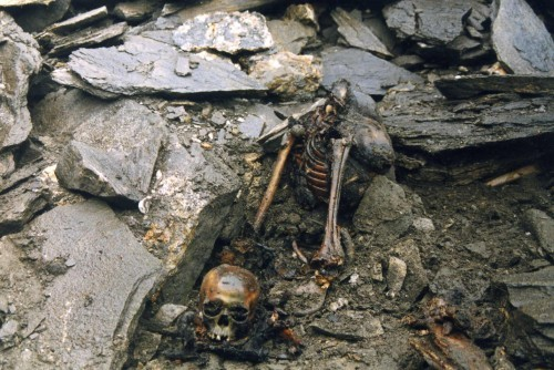 "I first learned about the Skeleton Lake of Roopkund on Atlas Obscura. It's a glacial lake in India where, in 1942, a British forest guard made a ghastly discovery:  Some 16,000 feet above sea level, at the bottom of a small valley, was a frozen lake absolutely full of skeletons. That summer, the ice melting revealed even more skeletal remains, floating in the water and lying haphazardly around the lake's edges. Something horrible had happened here. […] Flesh, hair, and the bones themselves had been preserved by the dry, cold air, but no one could properly determine exactly when they were from. More than that, they had no idea what had killed over 200 people in this small valley. Many theories were put forth including an epidemic, landslide, and ritual suicide. For decades, no one was able to shed light on the mystery of Skeleton Lake. However, a 2004 expedition to the site seems to have finally revealed the mystery of what caused those people's deaths. The answer was stranger than anyone had guessed. As it turns out, all the bodies date to around 850 AD. DNA evidence indicates that there were two distinct groups of people, one a family or tribe of closely related individuals, and a second smaller, shorter group of locals, likely hired as porters and guides. Rings, spears, leather shoes, and bamboo staves were found, leading experts to believe that the group was comprised of pilgrims heading through the valley with the help of the locals. All the bodies had died in a similar way, from blows to the head. However, the short deep cracks in the skulls appeared to be the result not of weapons, but rather of something rounded. The bodies also only had wounds on their heads, and shoulders as if the blows had all come from directly above. What had killed them all, porter and pilgrim alike? Among Himalayan women there is an ancient and traditional folk song. The lyrics describe a goddess so enraged at outsiders who defiled her mountain sanctuary that she rained death upon them by flinging hailstones ""hard as iron."" After much research and consideration, the 2004 expedition came to the same conclusion. All 200 people died from a sudden and severe hailstorm.  Image Source: Amateur Traveler."