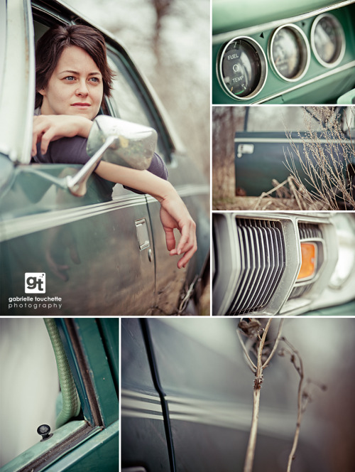Impromptu portrait shoot in an old car — more photos over at the blog: http://blog.egabrielle.com/old-car-portraits/Gabrielle Touchette Photography