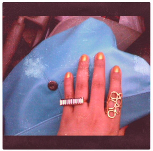 gold nails. new crystals ring. banana republic.