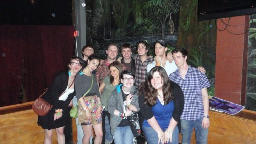 "Me and my friend, Alex, getting our picture with Starkid! I'm convinced these guys aren't as tall as we thought they were. I'm only 5'6"" and I was towering over Brian.. I'm bent over a little because I was almost as tall as Joe and Joey. I'm almost certain none of the guys are over 6 foot.."