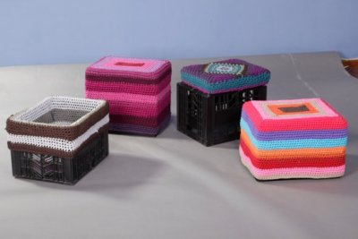 "shack chic : recycled crates turned upside down by Adri Schütz for Mielie ""There are countless benefits to the Sit In seats. It uses a low-tech manufacturing process which means these funky seats are inexpensive. The cushion and slip covers are crocheted with recycled cotton and the seat is ideal for indoor or outdoor use. The Sit In can be used as a stool or footrest, or the slip cover can be turned inside out to make it a handy storage box or picnic basket."" via Design Indaba"