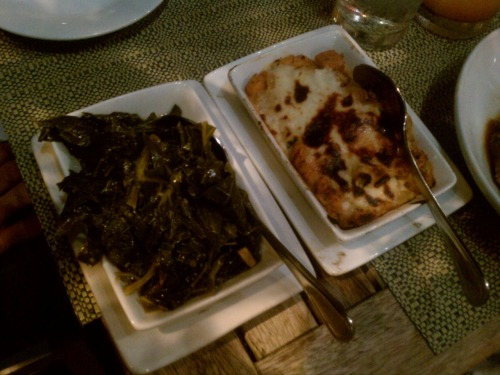 "Smothered collards and crawfish & green tomato casserole at Cochon in New Orleans.  7May2011 ""You're so excited about the greens."" - Becca ""You better believe it."" - me Also, that casserole was so homey and inviting."