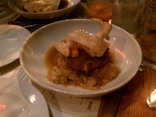 "Louisiana cochon with turnips, cabbage and cracklin at Cochon in New Orleans. 7May2011 If the ham hocks were the ""red meat"" of the night, this was the subtle ""white meat."""