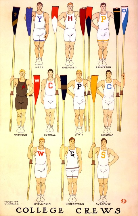 College Crews (1908), by Edward Penfield and Charles Beck, Jr. uniforms and blades of rowing teams from Yale, Harvard, Princeton, Annapolis (Navy), Cornell, Penn, Columbia, Wisconsin, Georgetown, and Syracuse The Library of Congress Shop > Prints, Photographs > Sports > College Crews