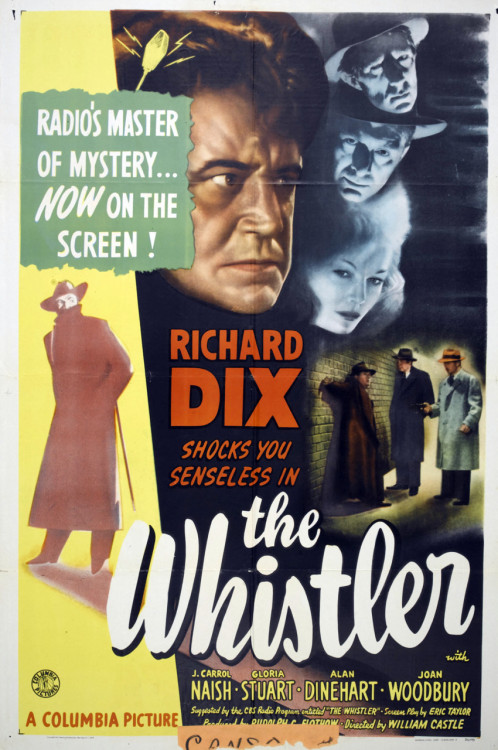 William Castle's 2nd directorial effort (following the failure of his 1943 film The Chance Of A Lifetime) was The Whistler based on the popular radio program. As a contract director for Columbia, Castle would go on to direct 3 more films in the popular Whistler series.