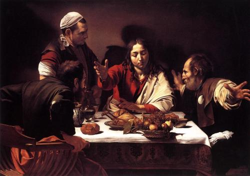The Supper at Emmaus by Michelangelo Merisi da Caravaggio, 1601-02, oil on canvas, 141 x 196.2 cm, National Gallery, London