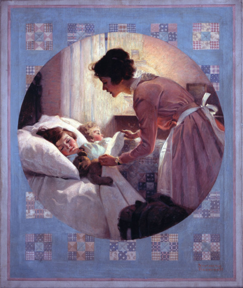Mother Tucking Children in Bed 'Literary Digest' January 29th, 1921 Happy Mother's Day!