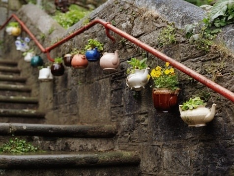 Love this idea for planters. Currently scouring thrift shops for an antique tea pot and cups to fill with flowers and use as a table top centerpiece.