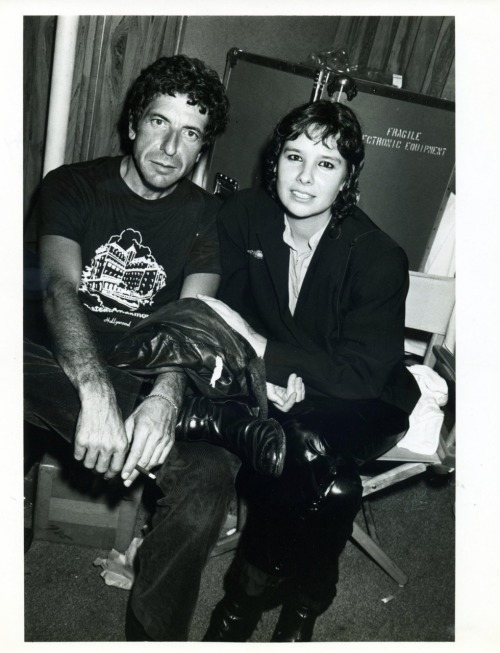Leonard Cohen with my friend Martine Getty backstage at that classic DEVO concert at The Starwood in 1979.  Photo by Brad Elterman